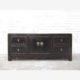 China small dresser drawers black lacquered pine