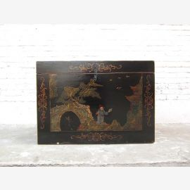 Chest in ancient China style finest golden drawings on black lacquer only by  Luxury Park