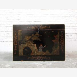 Cat Hygiene in ancient China style finest golden drawings on black lacquer only by  Luxury Park