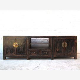 China Lowboard TV dresser black finish in vintage style pinewood