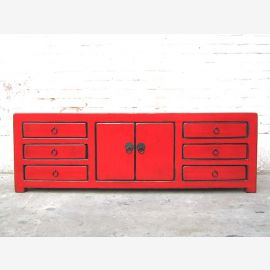 China TV dresser Lowboard fluorescent red six drawers for flat screen