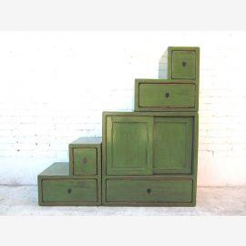 Asia steps dresser cabinet antique green pine