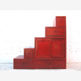 Asia stairs dresser cabinet reddish brown antique finish solid wood