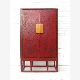 Asia large red-brown double doors cabinet brass fitting Pine