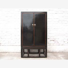 Asia Classic dresser double doors lacquer antique black hardwood