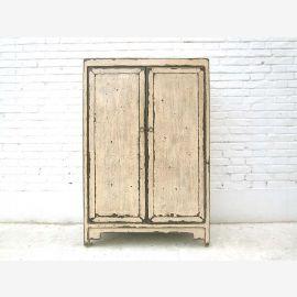 China semi-high antique white Double Door Chest shabby chic pine