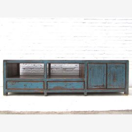 Asia wide dresser TV Lowboard azure shabby chic asymmetrical