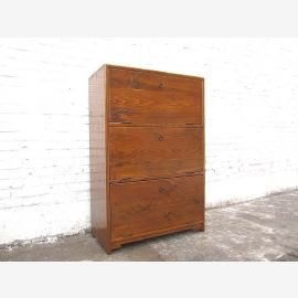 China Shoe cabinet drawers wood brown hardwood three compartments