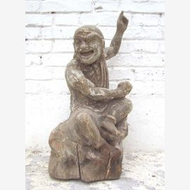 Sculpture 'The Joking' wooden figurine chinese poplar about 70 years old from Luxury Park