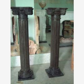 Small ancient column pedestal table Classic brown marble decor
