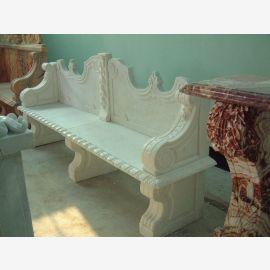 Park Bench white marble Baroque classical decors Steinmetz
