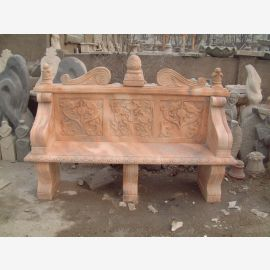 Classically decorated park bench reddish marble Baroque style