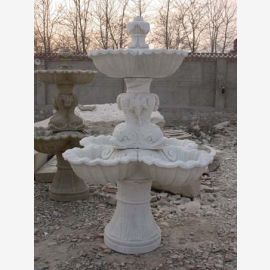 High round fountain on base 3 cups white marble Classic