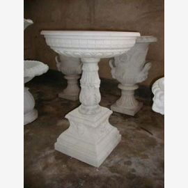 Round fountain on base two cups light brown marble Classic