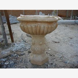Antique fountain basin on base tan marble Classic