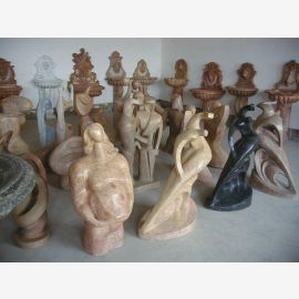 Sculptures marble various colors, shapes and sizes Cubism