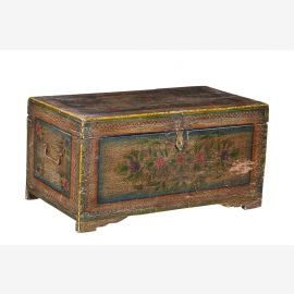 India 1940 flat wedding chest chest cassette front Rajasthan