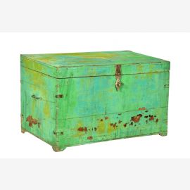 India 1920 small chest box made of green painted old teak