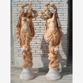 Female sculpture Pieta with veil ancient snow-white marble