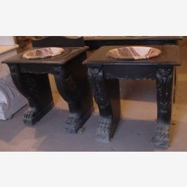 Two classic washbasins oriental style black marble