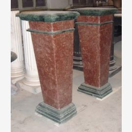 Small column square shape marble maroon and black Art Deco