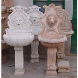 Wall fountain on base decor Relief white marble Baroque