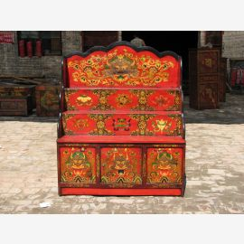 Tibetan natural wood sideboard in traditional design with fine decoration.