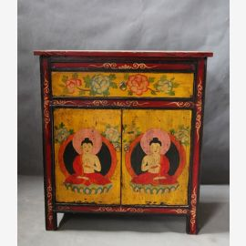 Solid wood cabinet decorated with traditional Tibetan motif.