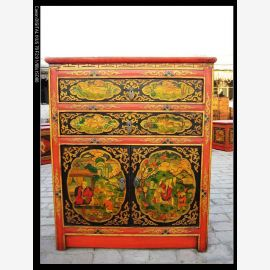 Natural wood cabinet with classic Tibetan painting in used look.