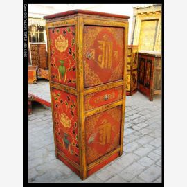 Hardwood cabinet from Tibet with traditional painting.
