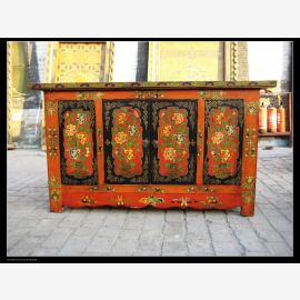Sideboard made of solid wood with elaborate design from Tibet.