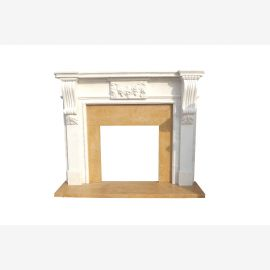 Marble fireplace facade mantelpiece two-tone early days at Luxury Park