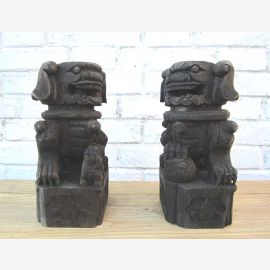 China two sculptures carved animal figures by 200 year old originals from poplar wood