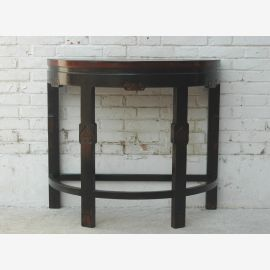 China half round side table wall dark pine table