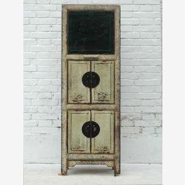 Narrow shelf Pine China Cabinet Antique Look