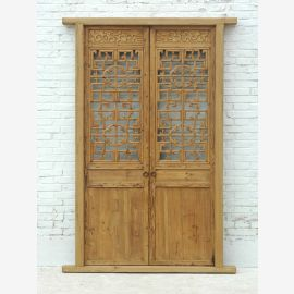 Carved door gate entrance ancient pine Shanxi 1810