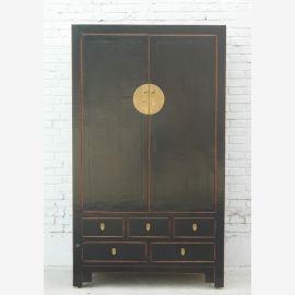 Large plain dark pine china cabinet