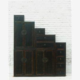Tangsu high angle downgraded dark pine chest of drawers